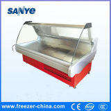 Servicio de cristal curvado comercial sobre el refrigerador para la carne