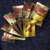 cartões de jogo plásticos da folha de ouro 24k euro-