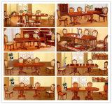 식당 가구를 위한 가죽 소파 의자를 가진 목제 테이블