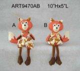 男の子および女の子のアライグマの装飾、収穫の休日の装飾