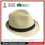 Chapéu de palha de cáqui em branco Fedora para homens