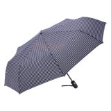 開いた自動車および近い格子フォールドの傘