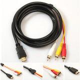 Förderung-volles kupfernes Kern Handelsaudiokabel-Schwarzes Handelsvideozeile Mann HDMI zum männlichen Kabel des Konverter-3RCA