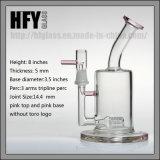 Hfy starke Glaspfeife 7.5 Zoll Wasser-Rohretoro-3 Arme Perc Anlage-Öl KLEKS Trinkwasserbrunnen-Borosilicat-Hand durchgebrannte unbesonnene Tabak-auf Lager