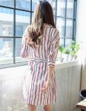 Sommer-Form V-Stutzen Streifen-Dame-Hemd-Kleid