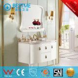 Gabinete de banheiro de madeira do único dissipador cerâmico moderno (BF-8065)