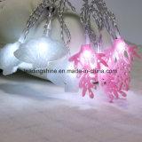Luz de hadas estrellada de la cadena del blanco LED del paño del arte de la dimensión de una variable coralina con pilas del shell