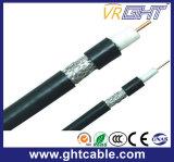 1.02mmccs, 4.8mmfpe, 80*0.12mmalmg, Od: 6.8mm 까만 PVC 동축 케이블 RG6