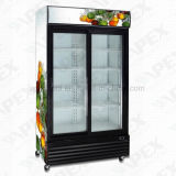 American Style Glass Double Door Upright Showcase Vertcal Display Coolers for Bottle Beverage