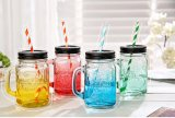 vaso di muratore di vetro affusolato Eco 8oz con il coperchio d'argento del metallo con tappo a vite