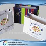Aufbereiteter Papierträger-Einkaufen-Kleid-verpackenbeutel mit Farbband-Griffen