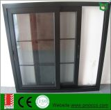 Двойное стеклянное алюминиевое сползая окно с решеткой