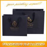 Bolso de empaquetado de papel negro impreso del regalo de las compras