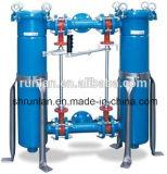 Carcaça de filtro frente e verso azul grande da água