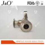 Válvula de esfera sanitária da maneira da T-Braçadeira 3 do aço inoxidável
