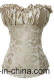 Women는 위로 뼈를 발라낸 더 가슴이 큰 Shapewear 허리 셰이퍼 코르셋을 끈으로 묶는다