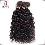 ペルー水巻き毛のバージンの毛の倍のWeft人間の毛髪の拡張自然な黒