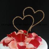 Il doppio cuore di Blingbling seleziona il cappello a cilindro Sparkly della torta di cerimonia nuziale per la decorazione della torta