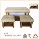 Hauptmöbel, die natürliches hölzernes Gewebe gepolsterten Prüftisch des Schlafzimmer-3-PC mit Nailhead Ordnung stapeln