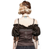 Y-727 Steampunk Gear Burnt Out Stretchy Knit Twill Vest