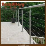 Balaustrada montada lado dos trilhos do cabo de /Stairs dos trilhos do fio do aço inoxidável (SJ-H1386)
