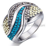 Anillo de joyería de cristal con acero inoxidable 316
