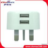 Caricatore doppio di corsa del USB della spina BRITANNICA del telefono mobile micro