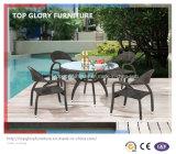 屋外の家具(TG-1031)のための庭のPEの藤の柳細工のダイニングテーブルそして椅子