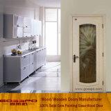 Porte en bois en verre de peinture d'entrée blanche de salle de séjour (GSP3-049)