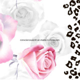 100%Polyester Rose weißer Leopard Pigment&Disperse druckte Gewebe für Bettwäsche-Set