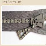 Zipper elegante do Rhinestone com a alta qualidade feita sob encomenda do diamante