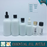 Bottiglia di olio essenziale di vetro bianca opalina
