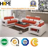 Sofá de cuero de Italia 1+2+3 anaranjados y blancos para el uso de la casa (HC5080)
