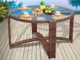 丸型の藤のDinninの椅子の机の一定のPEの藤の家具