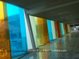 Glace décorative d'art avec l'impression de couleur, formes, barre de traverse