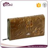 女性、本革の印刷された札入れ長い様式のための広州Faniの豪華な財布