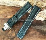 Correa de reloj genuina del cuero del becerro con la hebilla del despliegue (modelo de bambú)