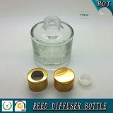 Frasco de vidro do difusor da lingüeta do cilindro de Wholsale 100ml com o tampão do alumínio do ouro
