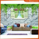 Окно конструкции кирпича вне картины маслом 3D пейзажа для декоров стен