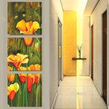 La pintura de pared moderna de la venta caliente de 3 pedazos florece el cuadro del arte de la pared de la decoración del sitio de la pintura pintado en la decoración Mc-222 del hogar de la lona