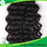 Nenhum Weave dos produtos químicos, o cabelo humano do Virgin da melhor onda profunda
