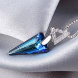 Pendente de cristal azul do triângulo de primeira qualidade da prata esterlina das mulheres 925 com corrente