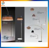 Lampes d'étage de DEL avec la nuance en bois pour la décoration intérieure