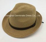 Sombrero de paja de papel con la venda de cuero de la corona de la PU (Sh034)