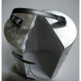 Boîte à vin de glace de cuir gravé en relief d'argent de cylindre (WB-009)