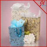 Clientes de papel brancos lustrosos dos sacos de compra da tinta metálica