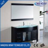 Cabina de cuarto de baño derecha de la vanidad del suelo americano del diseño con el lavabo de cristal