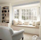 Disegno della griglia di finestra di specialità di legno solido, baia di buona qualità & finestra di arco di alluminio per edificio residenziale