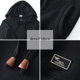 Mode surdimensionnée noire estampée par polyester Hoody du coton 20% Hoodie de 80%