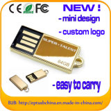Mini diseño USB Flash Drive memoria de oro de metal USB (ED012)